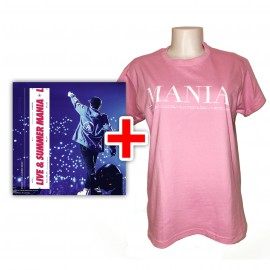 BUNDLE CD RIKI Live & Summer Mania e T-shirt rosa Mania