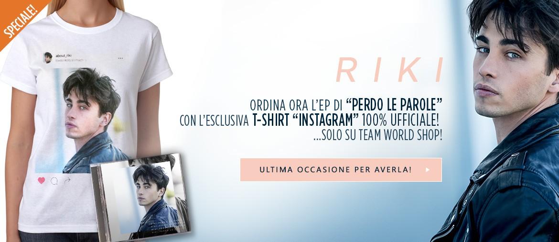 """Acquista ora """"Perdo le parole"""" di RIKI con la maglietta di Polaroid!"""